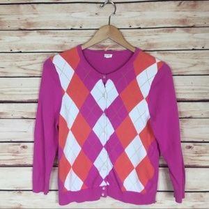 J. Crew Argyle Cardigan Sweater Pink Orange Medium
